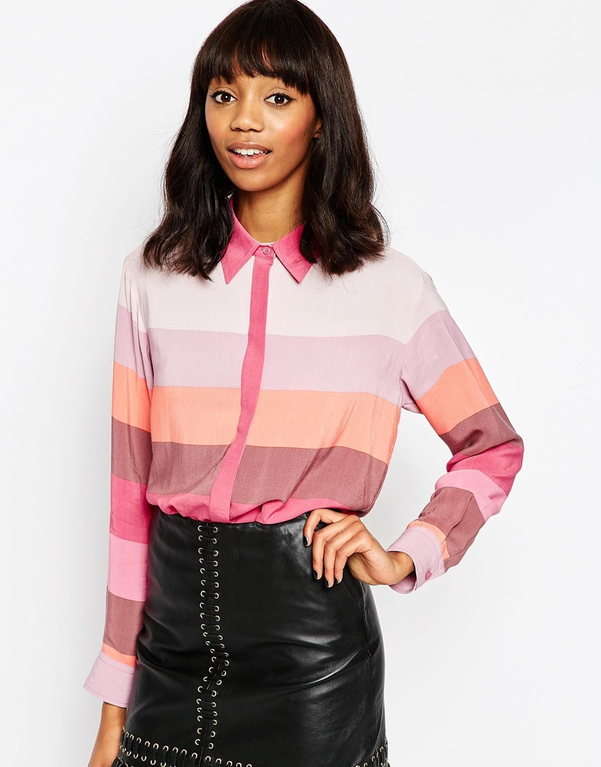 Pastel Stripe Blouse Multi - neckline: shirt collar/peter pan/zip with opening; pattern: horizontal stripes; style: shirt; predominant colour: pink; secondary colour: blush; occasions: casual, creative work; length: standard; fibres: viscose/rayon - 100%; fit: body skimming; sleeve length: long sleeve; sleeve style: standard; texture group: crepes; pattern type: fabric; pattern size: light/subtle; season: a/w 2015; wardrobe: highlight