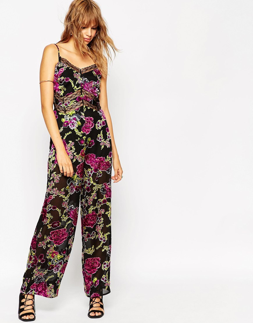Jumpsuit In Floral Devore With Lace Insert Multi - length: standard; neckline: low v-neck; sleeve style: spaghetti straps; secondary colour: magenta; predominant colour: black; occasions: evening; fit: fitted at waist & bust; fibres: polyester/polyamide - 100%; sleeve length: sleeveless; texture group: sheer fabrics/chiffon/organza etc.; style: jumpsuit; pattern type: fabric; pattern size: big & busy; pattern: florals; multicoloured: multicoloured; season: a/w 2015; wardrobe: event