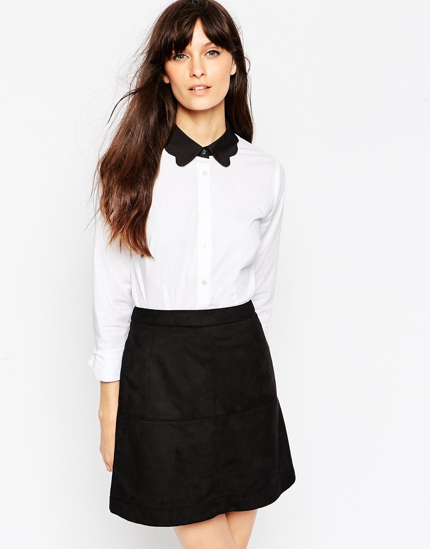 Contrast Collar Scallop Shirt White - neckline: shirt collar/peter pan/zip with opening; style: shirt; predominant colour: white; secondary colour: black; occasions: casual, creative work; length: standard; fibres: polyester/polyamide - 100%; fit: tailored/fitted; sleeve length: long sleeve; sleeve style: standard; trends: monochrome; texture group: crepes; pattern type: fabric; pattern size: standard; pattern: colourblock; season: a/w 2015; wardrobe: highlight