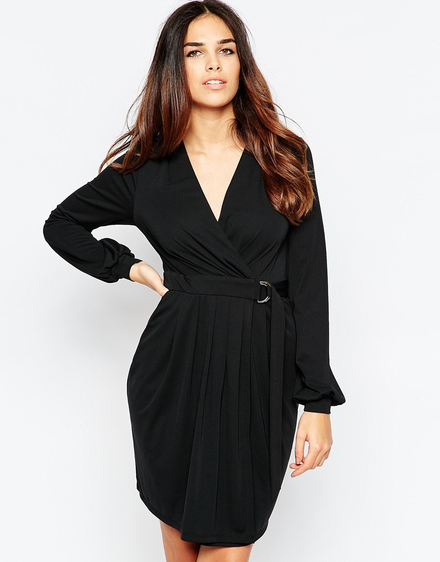 Crepe Wrap Dress With D Ring Black - style: faux wrap/wrap; neckline: low v-neck; fit: fitted at waist; pattern: plain; predominant colour: black; length: just above the knee; sleeve length: long sleeve; sleeve style: standard; texture group: crepes; pattern type: fabric; occasions: creative work; season: a/w 2015