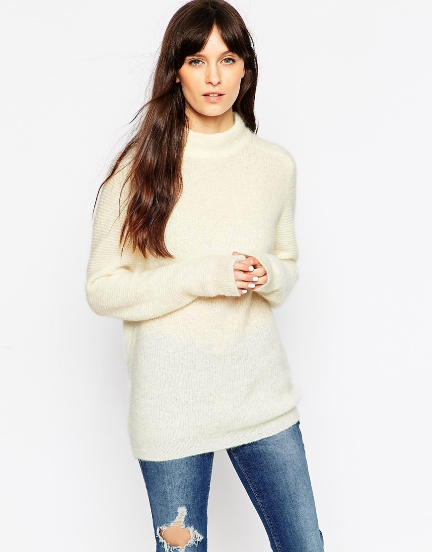 Mohair Jumper With Saddle Sleeve Winter White - pattern: plain; neckline: high neck; length: below the bottom; style: standard; predominant colour: ivory/cream; occasions: casual, creative work; fibres: wool - mix; fit: standard fit; sleeve length: long sleeve; sleeve style: standard; texture group: knits/crochet; season: a/w 2015; wardrobe: basic