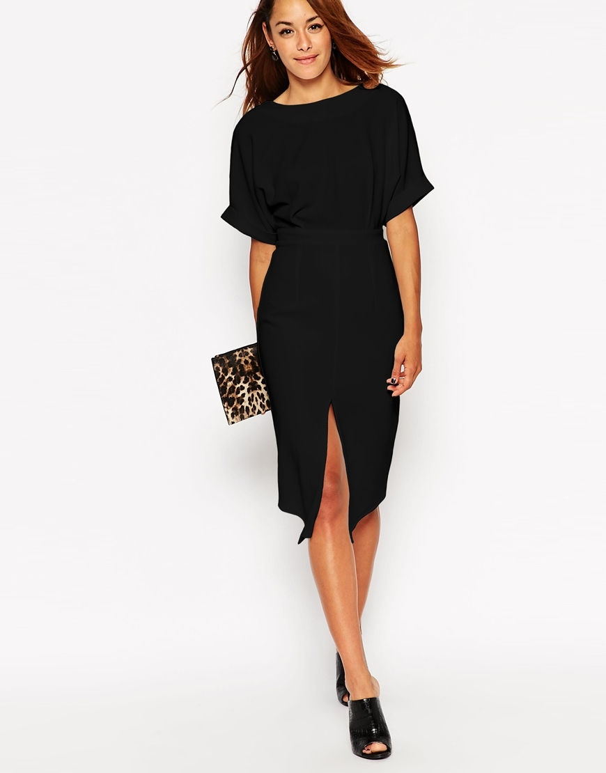Wiggle Dress With Split Front Black - predominant colour: black; season: a/w 2015