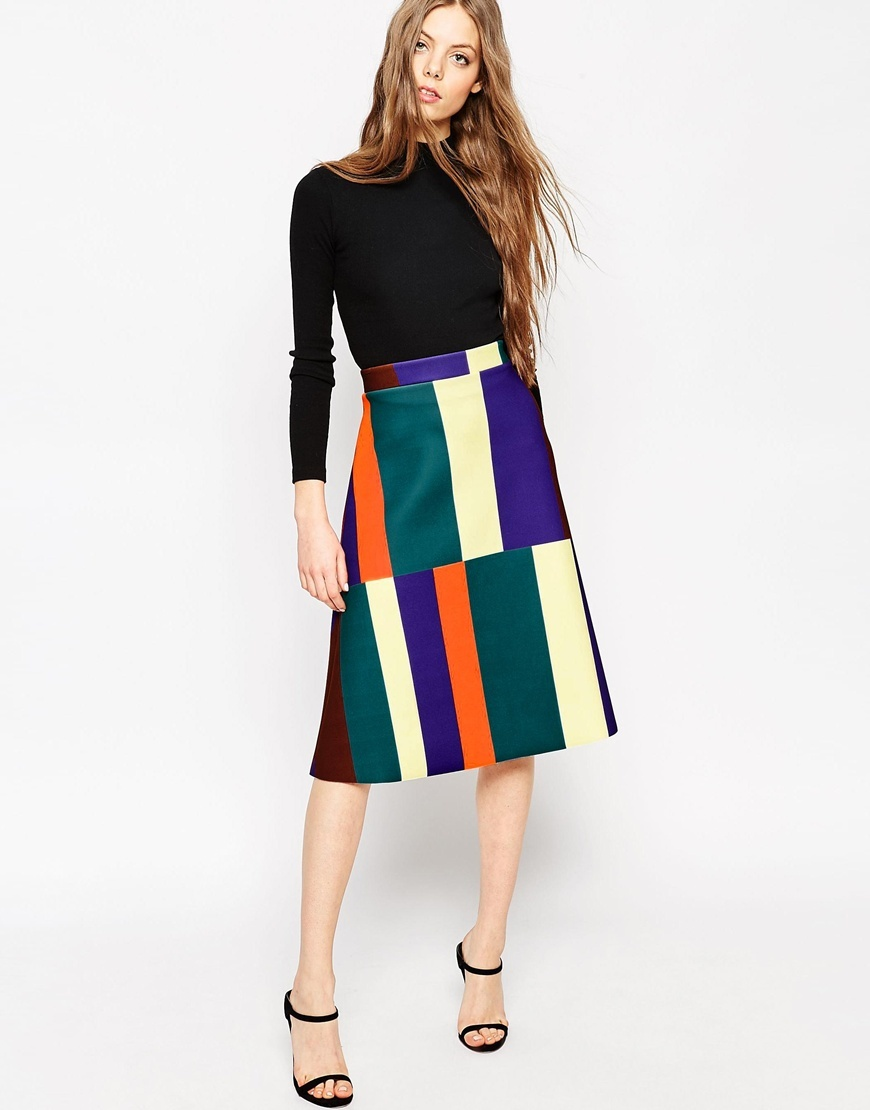 Midi Skirt In Abstract Stripe Multi - length: below the knee; waist: high rise; predominant colour: emerald green; secondary colour: bright orange; style: a-line; fit: straight cut; pattern type: fabric; pattern: colourblock; texture group: woven light midweight; occasions: creative work; multicoloured: multicoloured; season: a/w 2015; wardrobe: highlight