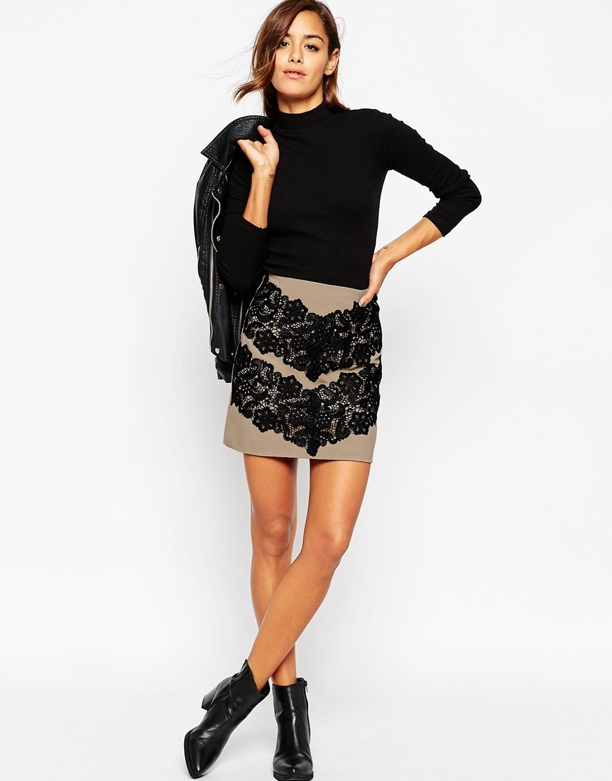 Premium Mini Skirt With Lace Applique Camel - length: mini; pattern: plain; fit: tailored/fitted; waist: high rise; predominant colour: taupe; occasions: evening; style: mini skirt; pattern type: fabric; texture group: woven light midweight; embellishment: lace; season: a/w 2015; wardrobe: event