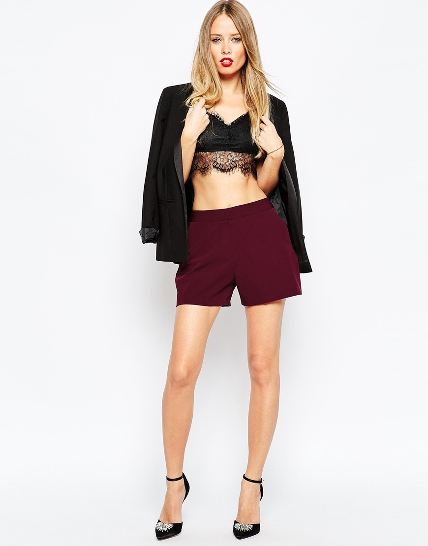 Tailored A Line Shorts Wine - pattern: plain; waist: high rise; pocket detail: pockets at the sides; predominant colour: burgundy; occasions: evening; fibres: polyester/polyamide - stretch; pattern type: fabric; texture group: woven light midweight; season: a/w 2015; style: shorts; length: short shorts; fit: slim leg; wardrobe: event
