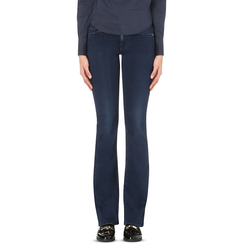 Slim Illusion Skinny Bootcut Mid Rise Jeans, Women's, Luxe Rich Indigo - style: bootcut; length: standard; pattern: plain; pocket detail: traditional 5 pocket; waist: mid/regular rise; predominant colour: navy; occasions: casual; fibres: cotton - stretch; jeans detail: dark wash; texture group: denim; pattern type: fabric; season: a/w 2015; wardrobe: basic