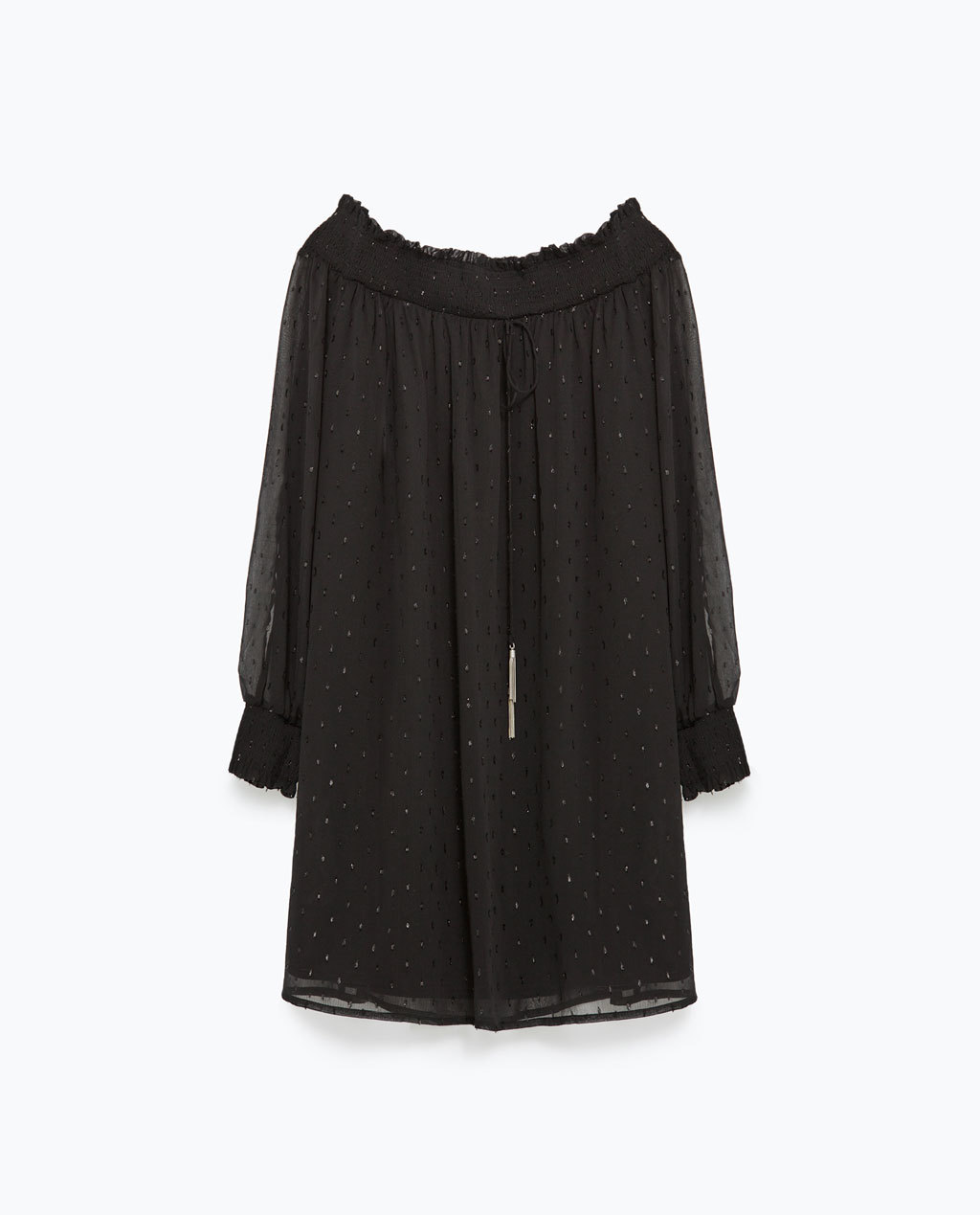 Plumetis Dress - style: smock; length: mid thigh; neckline: off the shoulder; fit: loose; sleeve style: balloon; pattern: polka dot; secondary colour: gold; predominant colour: black; occasions: evening; fibres: polyester/polyamide - 100%; sleeve length: long sleeve; texture group: sheer fabrics/chiffon/organza etc.; pattern type: fabric; pattern size: light/subtle; embellishment: glitter; season: a/w 2015