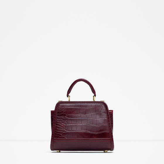 Mini City Bag With Double Closure - predominant colour: burgundy; occasions: casual, work, creative work; style: shoulder; length: handle; size: standard; material: faux leather; pattern: plain; finish: plain; season: a/w 2015; wardrobe: highlight