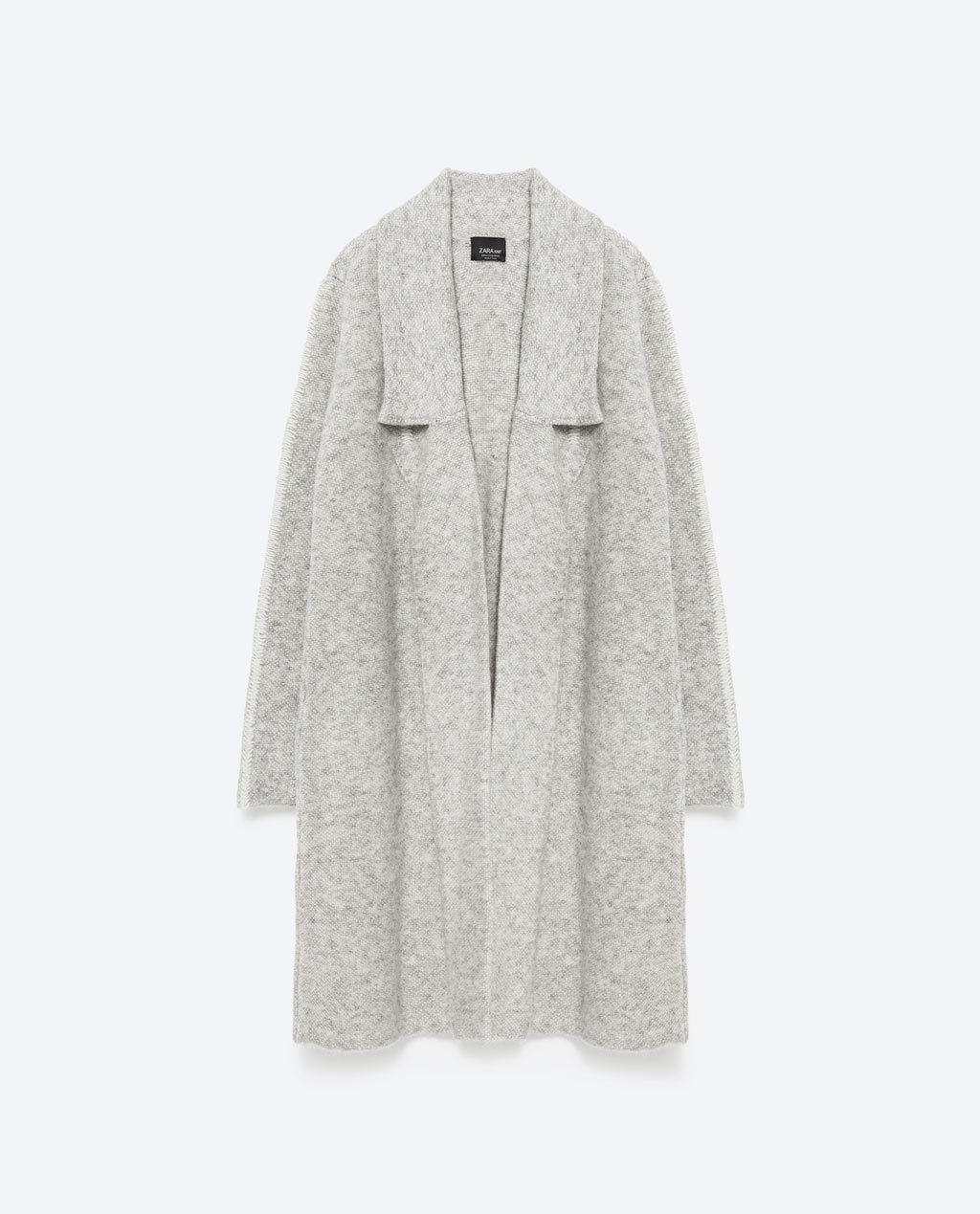 Long Sleeve Coat - collar: shawl/waterfall; fit: loose; style: single breasted; length: on the knee; secondary colour: ivory/cream; predominant colour: light grey; occasions: casual; fibres: acrylic - mix; sleeve length: long sleeve; sleeve style: standard; collar break: low/open; pattern type: fabric; pattern size: light/subtle; texture group: woven light midweight; pattern: marl; season: a/w 2015