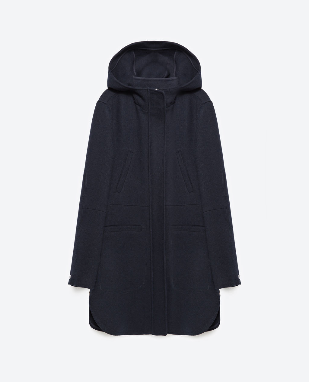 Wool Coat - pattern: plain; length: below the bottom; collar: funnel; fit: loose; style: single breasted; back detail: hood; predominant colour: navy; occasions: casual; fibres: acrylic - mix; sleeve length: long sleeve; sleeve style: standard; collar break: high; pattern type: fabric; texture group: woven bulky/heavy; season: a/w 2015; wardrobe: basic