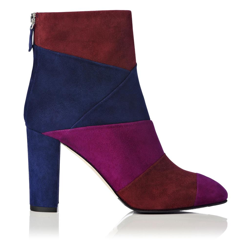 Fianna Suede Block Heel Ankle Boot - predominant colour: navy; material: suede; heel height: high; heel: block; toe: round toe; boot length: shoe boot; style: standard; finish: plain; pattern: colourblock; secondary colour: raspberry; occasions: creative work; season: a/w 2015; wardrobe: highlight