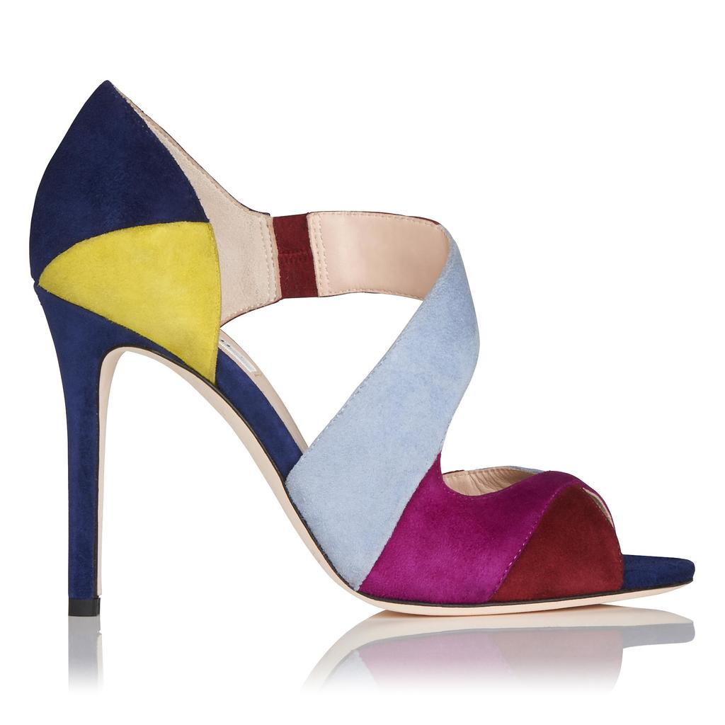 Leona High Heel Leather Sandals Multi Denim - secondary colour: hot pink; predominant colour: pale blue; occasions: evening; material: suede; heel: stiletto; toe: open toe/peeptoe; style: courts; finish: plain; pattern: colourblock; heel height: very high; multicoloured: multicoloured; season: a/w 2015; wardrobe: event