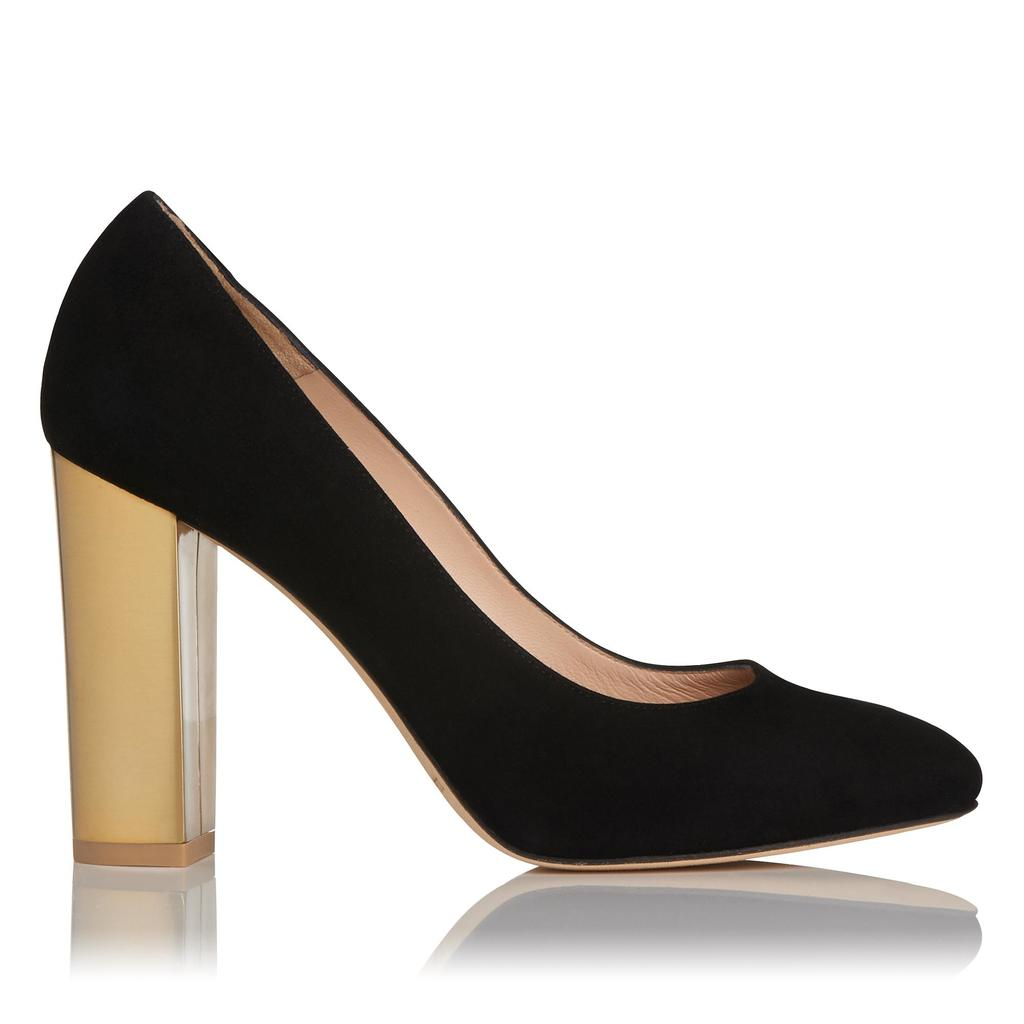 Manila Suede Block Heel Black - secondary colour: gold; predominant colour: black; occasions: evening; material: suede; heel: block; toe: round toe; style: courts; finish: plain; pattern: plain; heel height: very high; season: a/w 2015