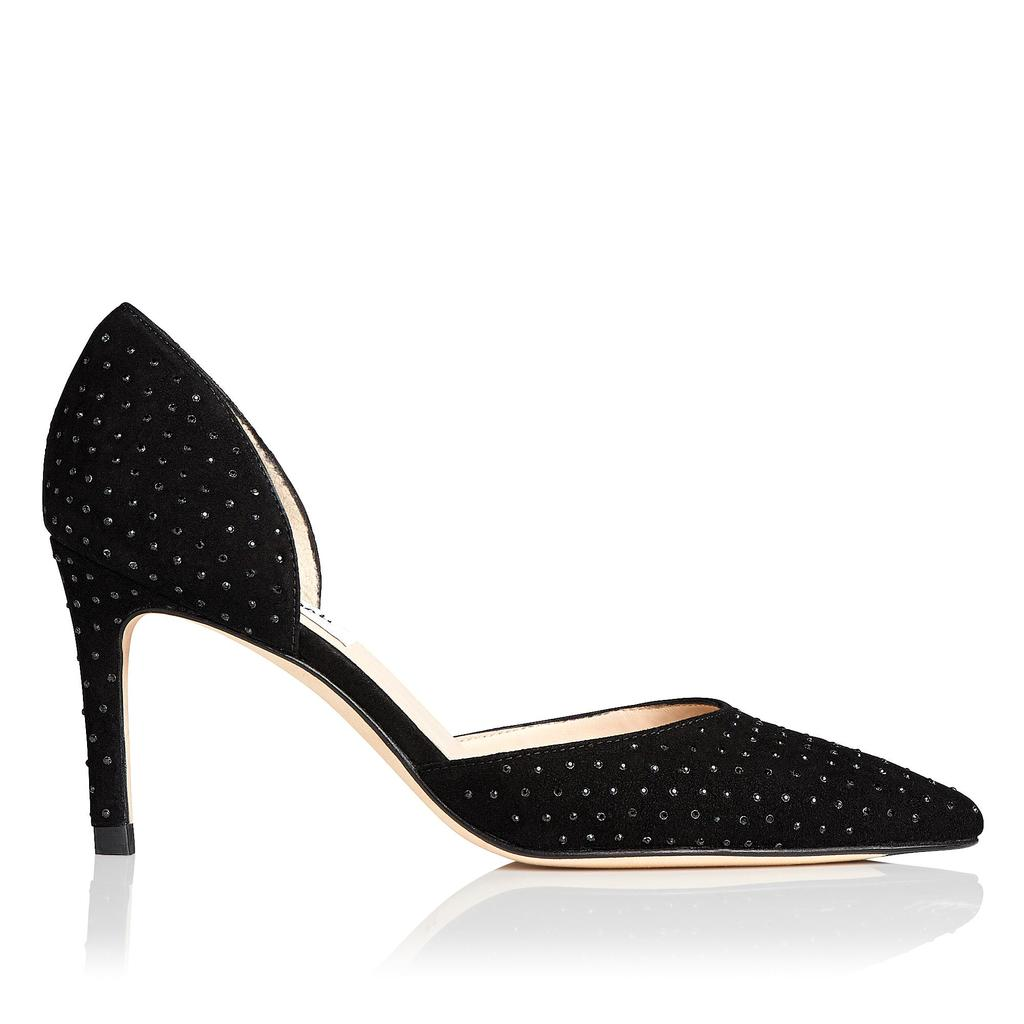 Flossie Crystal Suede Courts Black Crystal - predominant colour: black; occasions: evening, occasion; material: suede; heel height: high; embellishment: crystals/glass; heel: stiletto; toe: pointed toe; style: courts; finish: plain; pattern: plain; season: a/w 2015; wardrobe: event