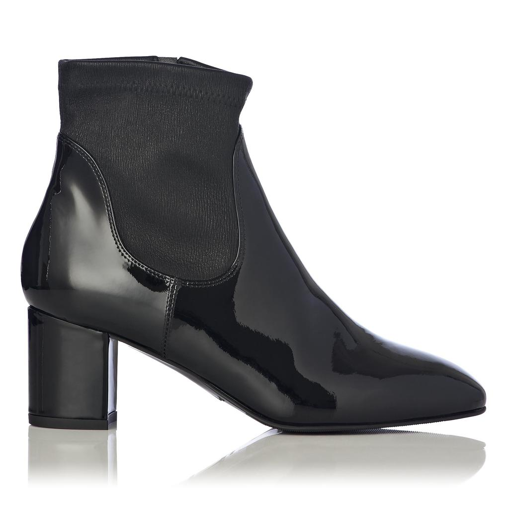Shelley Patent Leather Ankle Boot - predominant colour: black; occasions: casual, creative work; material: leather; heel height: mid; heel: block; toe: round toe; boot length: ankle boot; style: standard; finish: patent; pattern: plain; season: a/w 2015; wardrobe: basic