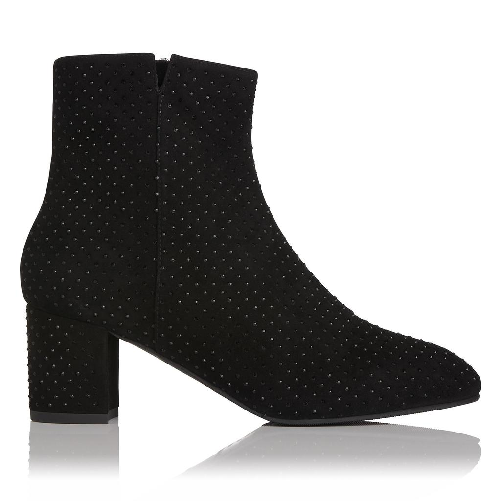 Sina Black Crystal Suede Ankle Boots - predominant colour: black; occasions: casual, creative work; material: suede; heel height: flat; embellishment: crystals/glass; heel: block; toe: round toe; boot length: ankle boot; style: standard; finish: plain; pattern: polka dot; season: a/w 2015; wardrobe: highlight