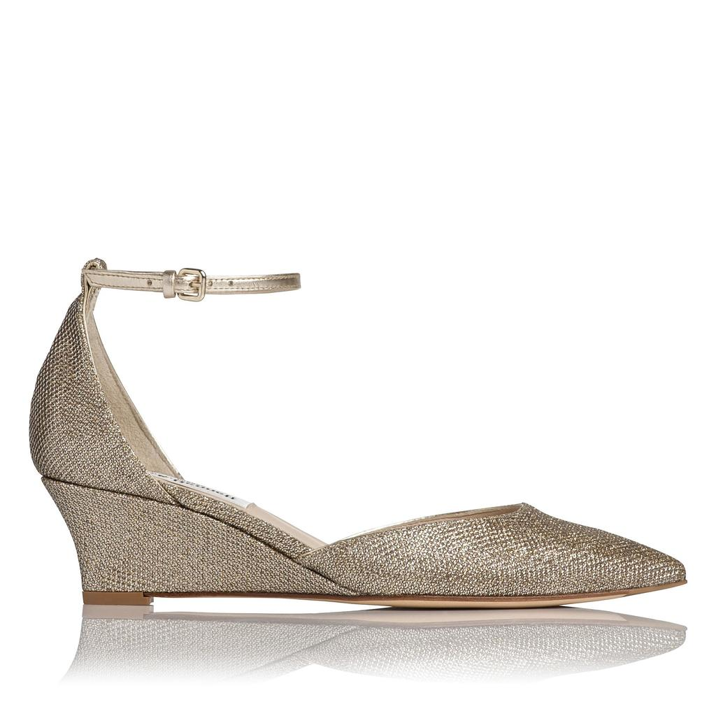 Alex Gold Leather Wedges Gold Soft Gold - predominant colour: gold; occasions: evening, occasion; material: leather; heel height: mid; ankle detail: ankle strap; heel: wedge; toe: pointed toe; style: courts; finish: metallic; pattern: plain; season: a/w 2015; wardrobe: event