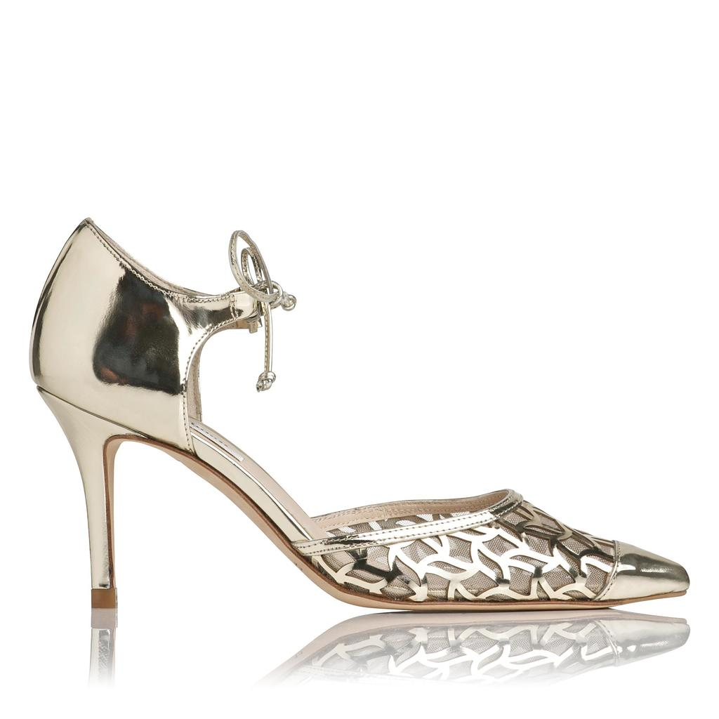 Fauna Metallic Leather Courts Metallic Champagne - predominant colour: gold; occasions: evening, occasion; material: leather; heel height: high; ankle detail: ankle strap; heel: stiletto; toe: pointed toe; style: courts; finish: metallic; pattern: plain; season: a/w 2015; wardrobe: event