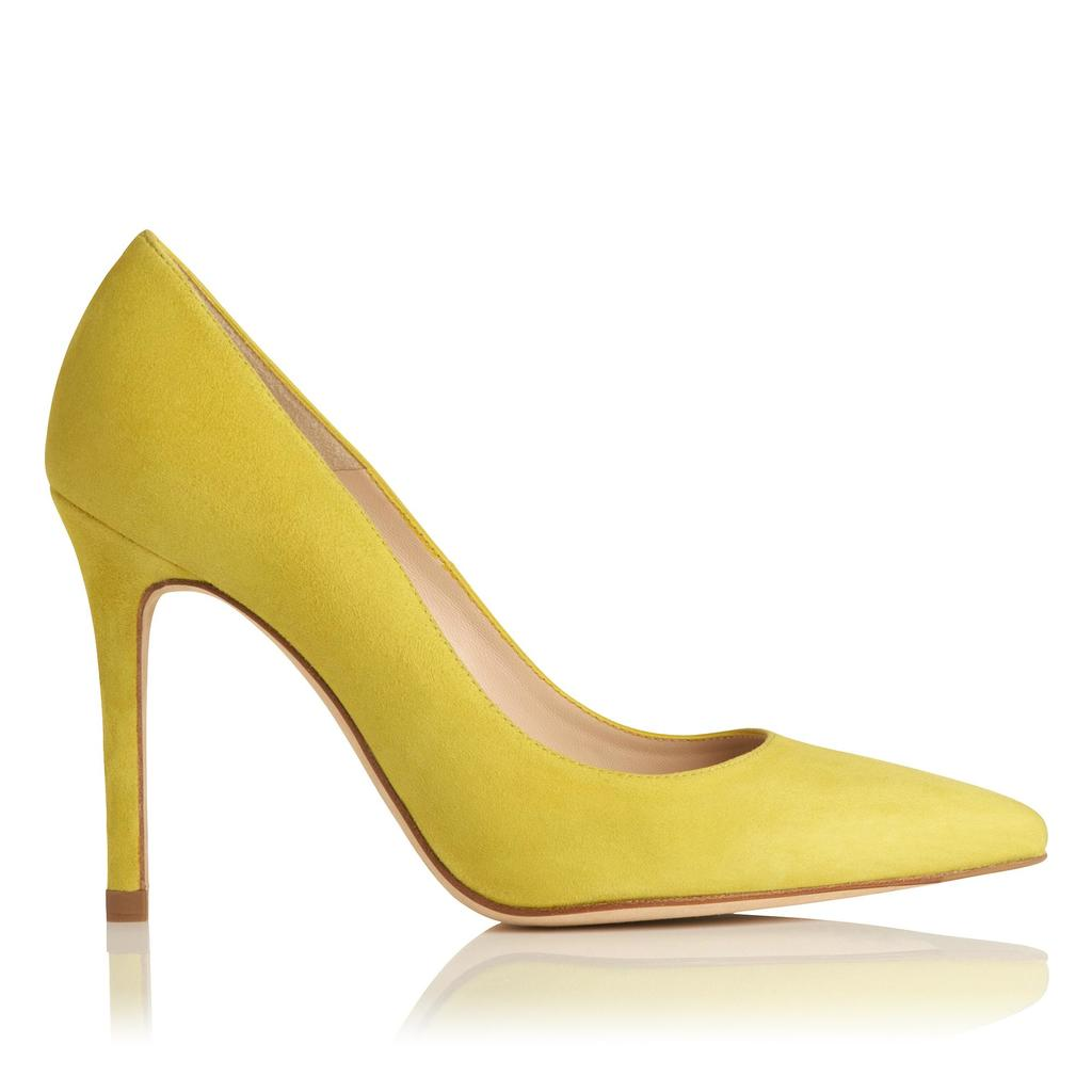 Fern Lime Suede Courts Yellow Lime - predominant colour: lime; occasions: evening, occasion, creative work; material: leather; heel height: high; heel: stiletto; toe: pointed toe; style: courts; finish: plain; pattern: plain; season: a/w 2015