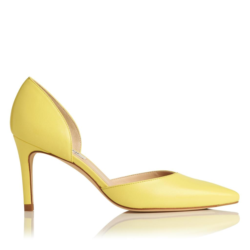 Flossie Lime Leather Courts Yellow Lime - predominant colour: lime; occasions: occasion; material: leather; heel height: high; heel: stiletto; toe: pointed toe; style: courts; finish: plain; pattern: plain; season: a/w 2015; wardrobe: event