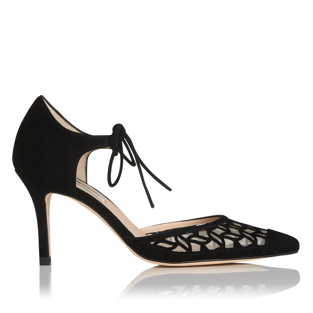 Fauna Black Suede Courts - predominant colour: black; occasions: evening, occasion; material: suede; heel height: high; ankle detail: ankle tie; heel: stiletto; toe: pointed toe; style: courts; finish: plain; pattern: plain; season: a/w 2015; wardrobe: event