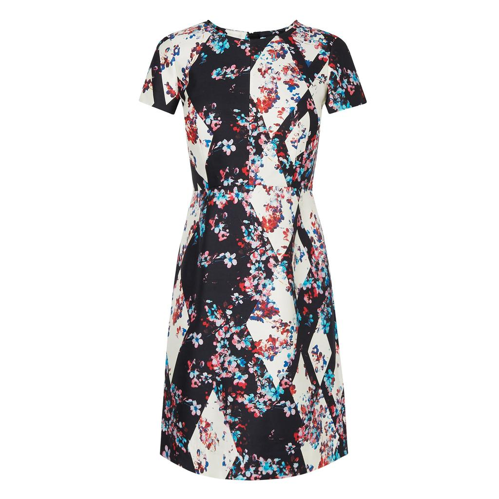 Tia Black Floral Dress - style: shift; secondary colour: white; predominant colour: black; occasions: evening, occasion; length: just above the knee; fit: soft a-line; fibres: cotton - mix; neckline: crew; sleeve length: short sleeve; sleeve style: standard; pattern type: fabric; pattern: florals; texture group: woven light midweight; multicoloured: multicoloured; season: a/w 2015; wardrobe: event