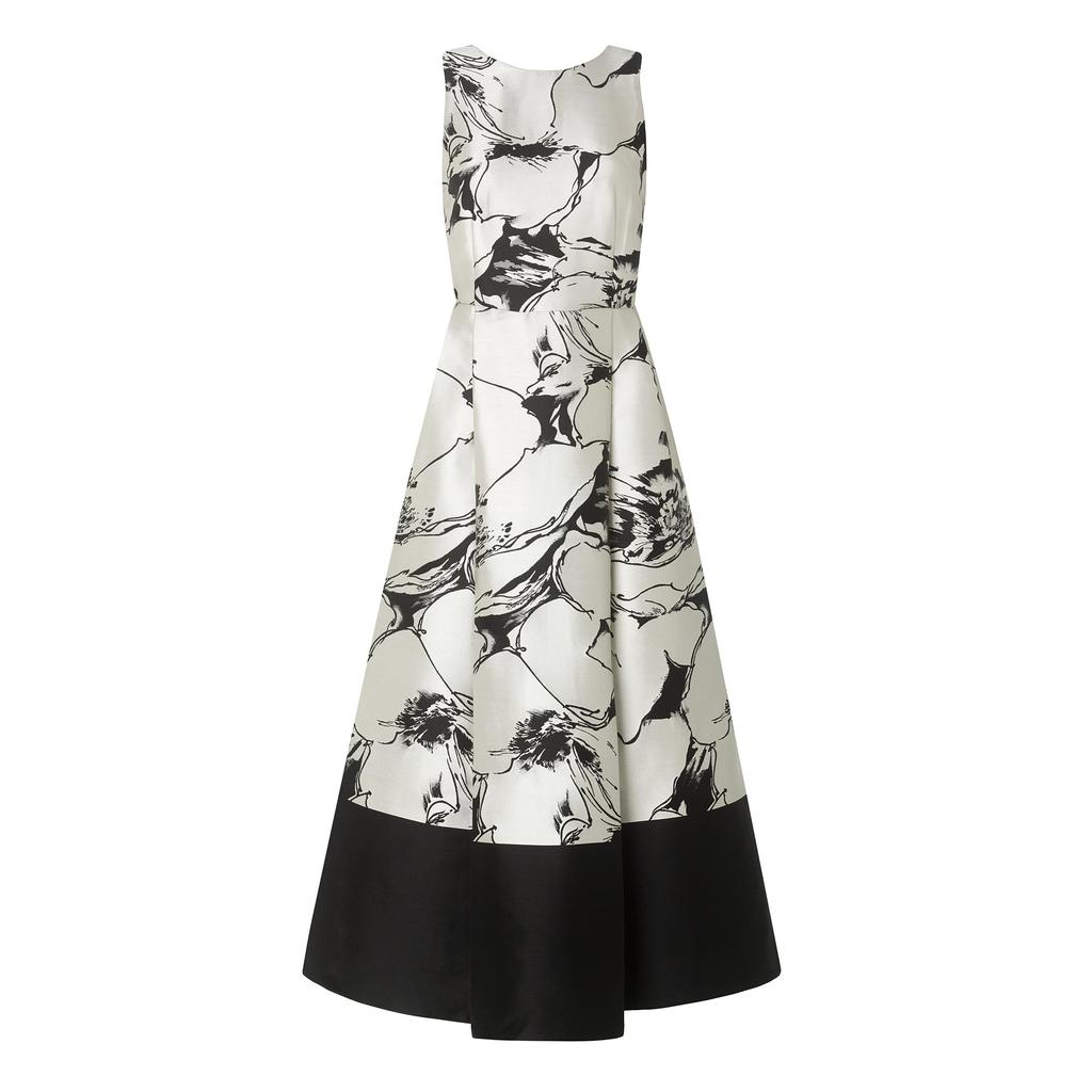 Sage Printed Full Midi Dress Multi Black - style: ballgown; neckline: round neck; sleeve style: sleeveless; predominant colour: white; secondary colour: black; length: floor length; fit: fitted at waist & bust; fibres: polyester/polyamide - mix; occasions: occasion; hip detail: adds bulk at the hips; sleeve length: sleeveless; trends: monochrome; pattern type: fabric; pattern size: standard; pattern: patterned/print; texture group: woven light midweight; season: a/w 2015; wardrobe: event