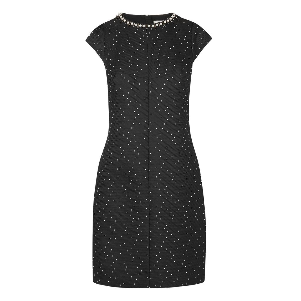 Kira Spot Embellished Black Dress Multi Black - style: shift; sleeve style: capped; fit: tailored/fitted; pattern: plain; predominant colour: black; occasions: evening; length: just above the knee; fibres: polyester/polyamide - 100%; neckline: crew; shoulder detail: added shoulder detail; sleeve length: short sleeve; pattern type: fabric; texture group: brocade/jacquard; embellishment: jewels/stone; secondary colour: clear; season: a/w 2015