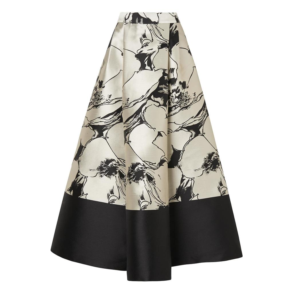 Sage Printed Full Midi Skirt - style: full/prom skirt; fit: loose/voluminous; waist: high rise; secondary colour: stone; predominant colour: black; occasions: evening, occasion; length: on the knee; fibres: silk - 100%; hip detail: subtle/flattering hip detail; waist detail: feature waist detail; texture group: structured shiny - satin/tafetta/silk etc.; pattern type: fabric; pattern: patterned/print; pattern size: big & busy (bottom); season: a/w 2015; wardrobe: event