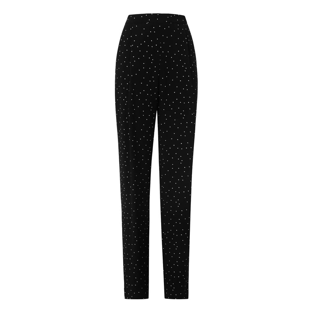 Monica Monochrome Printed Trousers - length: standard; waist: high rise; predominant colour: black; occasions: evening, creative work; fibres: viscose/rayon - 100%; fit: slim leg; pattern type: fabric; pattern: patterned/print; texture group: woven light midweight; style: standard; pattern size: light/subtle (bottom); season: a/w 2015; wardrobe: highlight