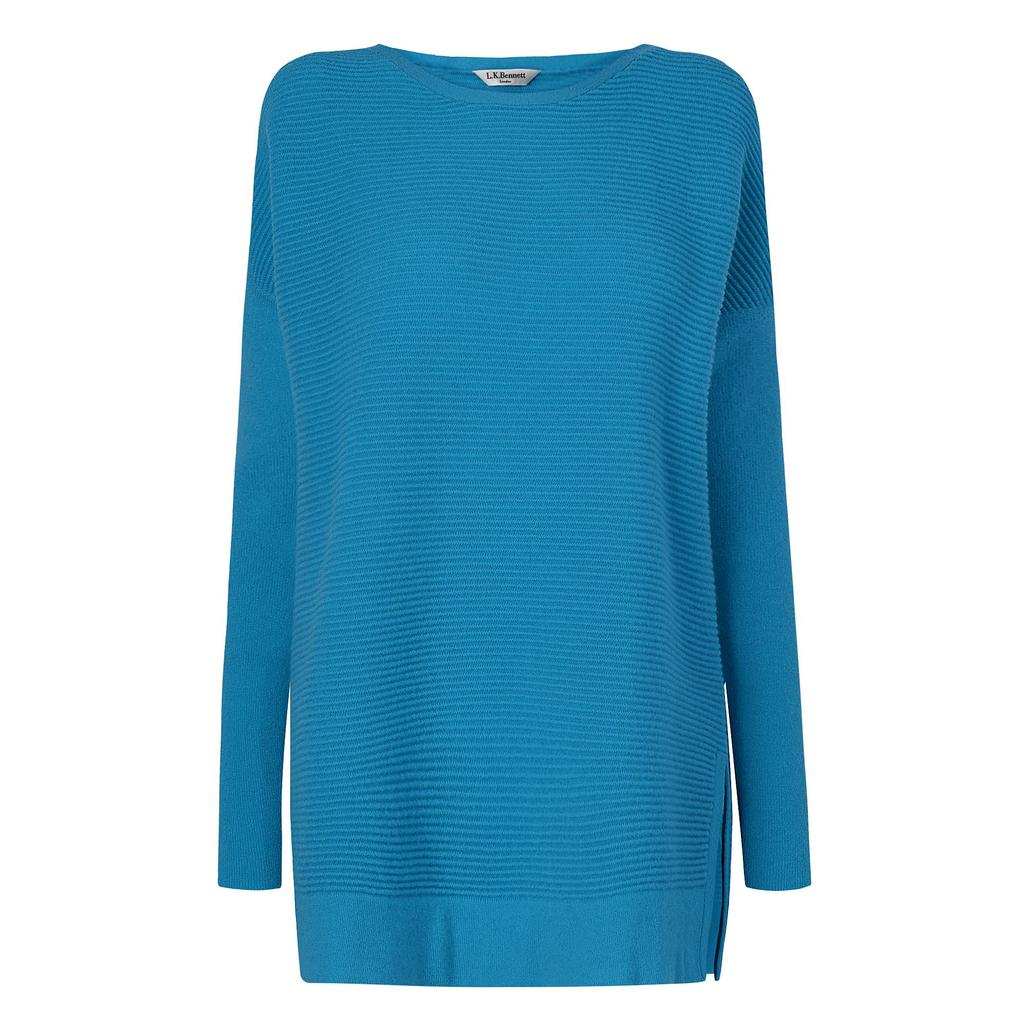 Sar Blue Knit Jumper Blue Azure - neckline: slash/boat neckline; pattern: plain; length: below the bottom; style: tunic; predominant colour: turquoise; occasions: casual, creative work; fibres: wool - mix; fit: loose; sleeve length: long sleeve; sleeve style: standard; texture group: knits/crochet; pattern type: knitted - other; season: a/w 2015