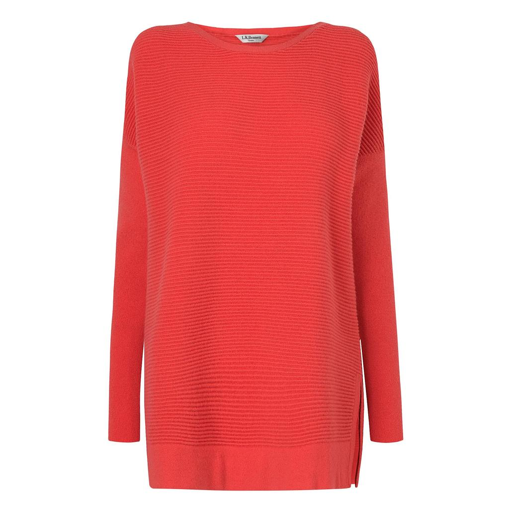 Sar Pink Knit Jumper - neckline: slash/boat neckline; pattern: plain; length: below the bottom; style: standard; predominant colour: coral; occasions: casual, creative work; fibres: wool - mix; fit: loose; sleeve length: long sleeve; sleeve style: standard; texture group: knits/crochet; pattern type: knitted - other; season: a/w 2015; wardrobe: highlight