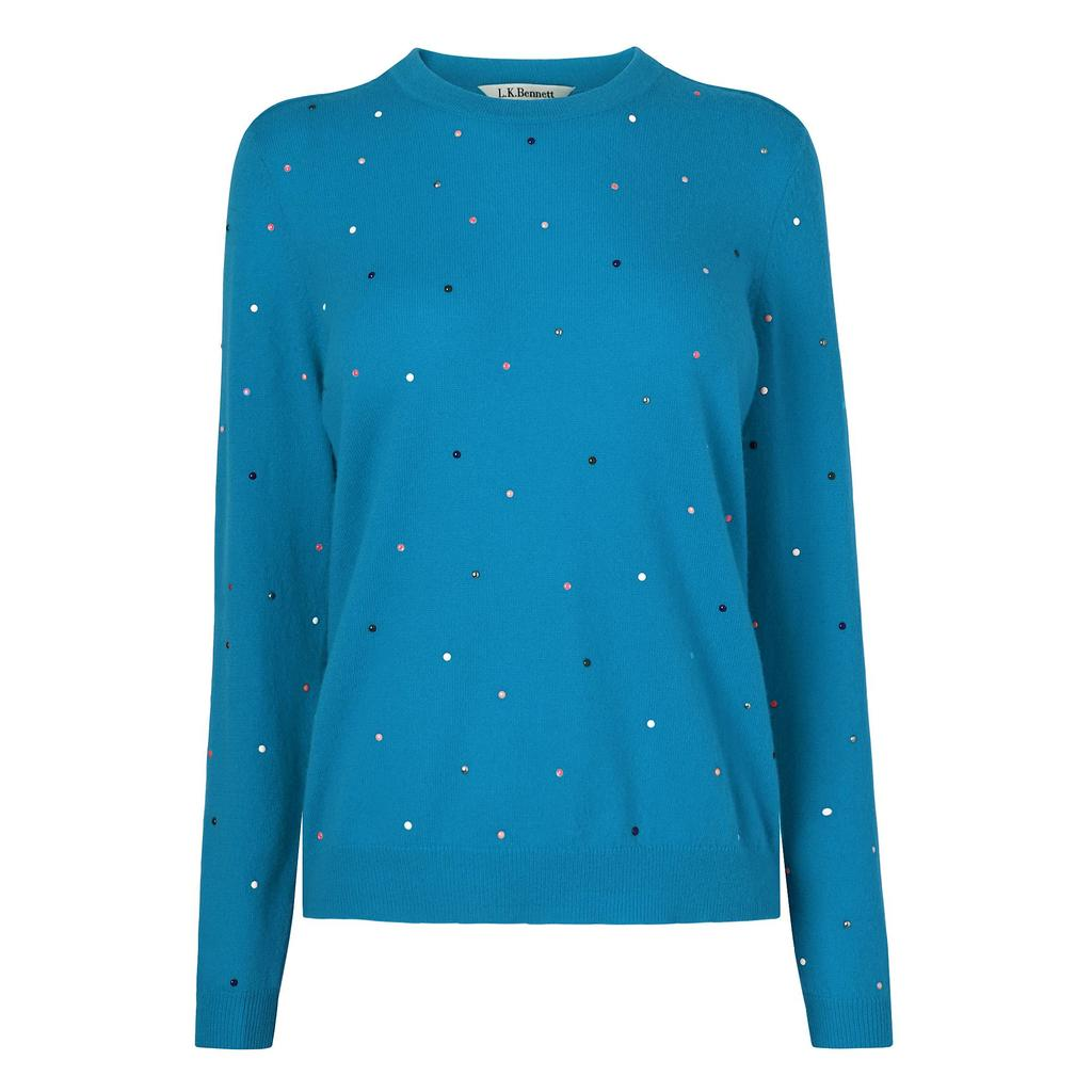 Jade Blue Embellished Knit Jumper Blue Azure - pattern: plain; style: standard; predominant colour: diva blue; occasions: casual, creative work; length: standard; fibres: wool - mix; fit: standard fit; neckline: crew; sleeve length: long sleeve; sleeve style: standard; texture group: knits/crochet; pattern type: knitted - fine stitch; embellishment: beading; season: a/w 2015; wardrobe: highlight