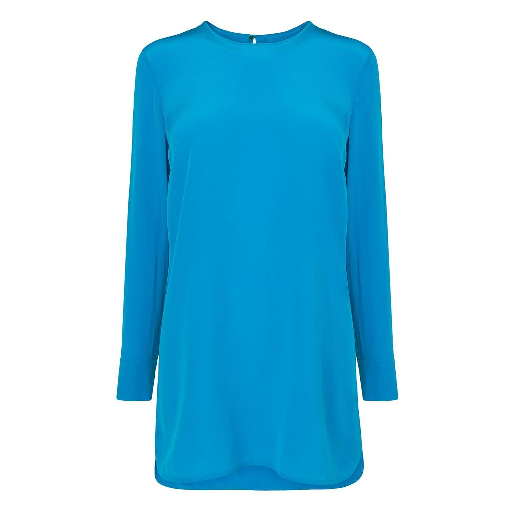 Fifi Blue Long Tunic Shirt Blue Azure - neckline: round neck; pattern: plain; style: tunic; predominant colour: diva blue; fibres: silk - 100%; occasions: occasion, creative work; fit: loose; length: mid thigh; sleeve length: long sleeve; sleeve style: standard; texture group: silky - light; pattern type: fabric; season: a/w 2015; wardrobe: highlight