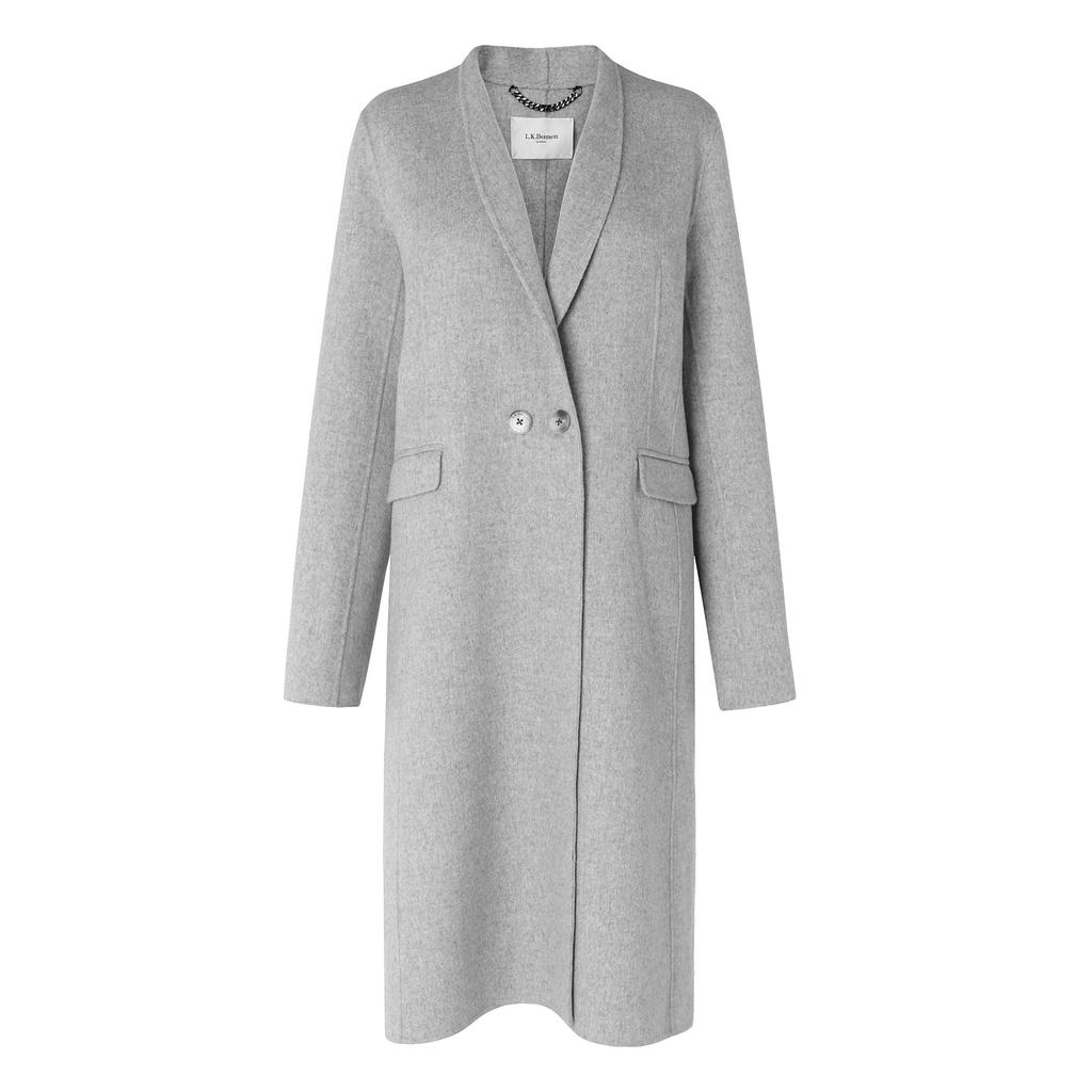 Sandra Grey Cashmere Coat Grey Melange - pattern: plain; style: single breasted; collar: standard lapel/rever collar; length: mid thigh; predominant colour: light grey; occasions: casual, creative work; fit: tailored/fitted; sleeve length: long sleeve; sleeve style: standard; collar break: high/illusion of break when open; pattern type: fabric; texture group: woven bulky/heavy; season: a/w 2015