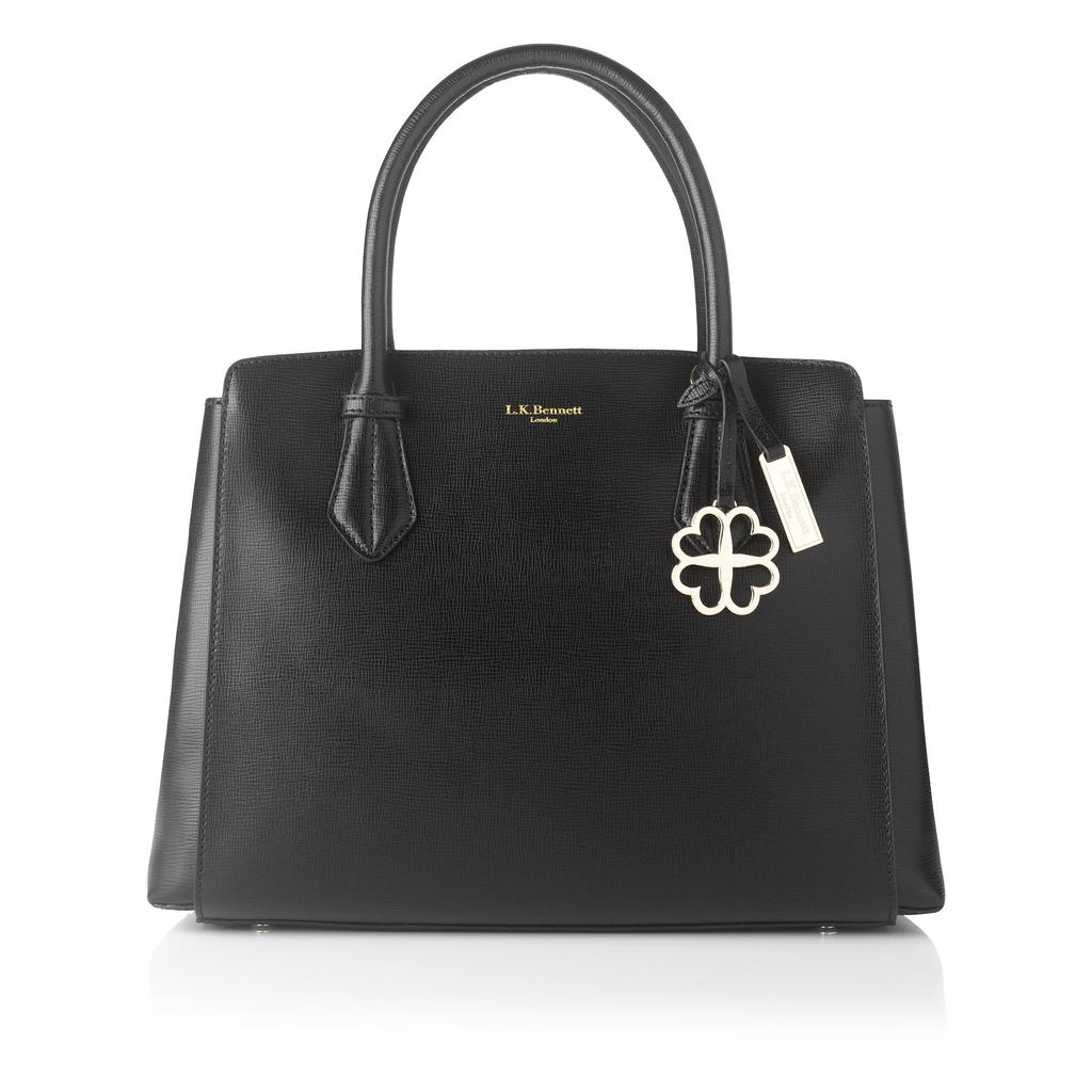 Catrina Black Saffiano Leather Tote - secondary colour: gold; predominant colour: black; occasions: work, creative work; type of pattern: standard; style: tote; length: handle; size: standard; material: leather; pattern: plain; finish: plain; embellishment: chain/metal; season: a/w 2015; wardrobe: investment