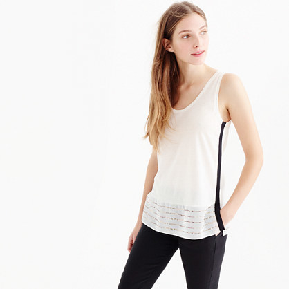 Embellished Silk Hem Tank Top - sleeve style: standard vest straps/shoulder straps; style: vest top; predominant colour: ivory/cream; secondary colour: black; occasions: casual; length: standard; neckline: scoop; fibres: cotton - 100%; fit: body skimming; sleeve length: sleeveless; pattern type: fabric; pattern size: light/subtle; pattern: colourblock; texture group: jersey - stretchy/drapey; embellishment: sequins; season: a/w 2015