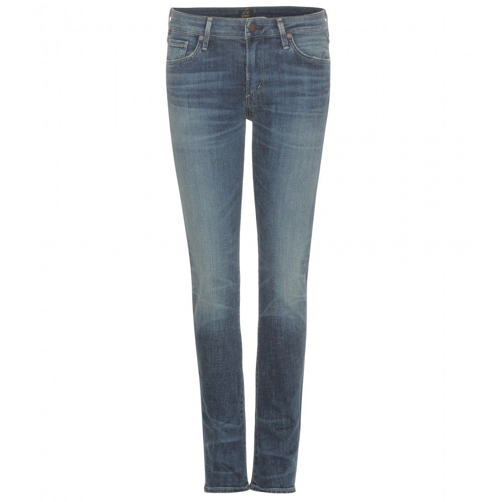 Arielle Mid Rise Slim Jeans - style: skinny leg; length: standard; pattern: plain; pocket detail: traditional 5 pocket; waist: mid/regular rise; predominant colour: denim; occasions: casual; fibres: cotton - stretch; jeans detail: shading down centre of thigh; texture group: denim; pattern type: fabric; season: a/w 2015