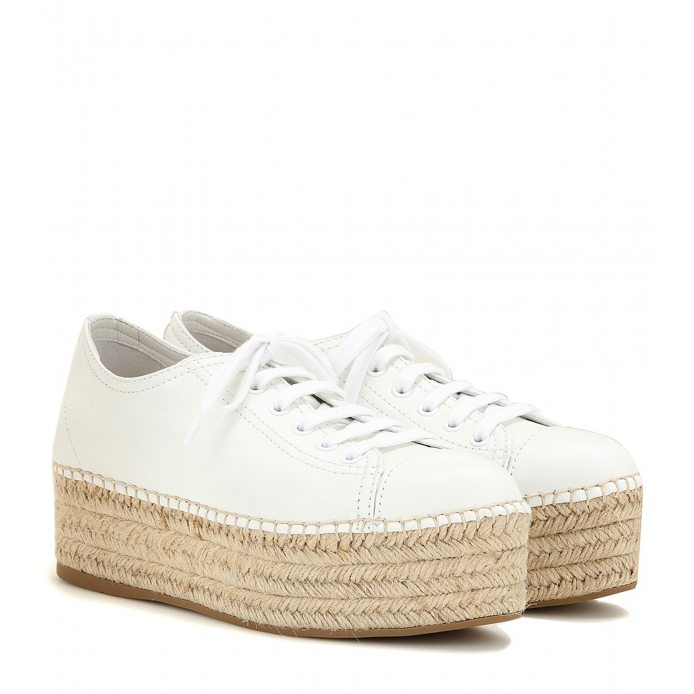 Espadrille Style Platform Leather Sneakers - predominant colour: white; occasions: casual, creative work; material: leather; heel height: flat; toe: round toe; style: flatforms; finish: plain; pattern: plain; shoe detail: platform; season: a/w 2015; wardrobe: highlight