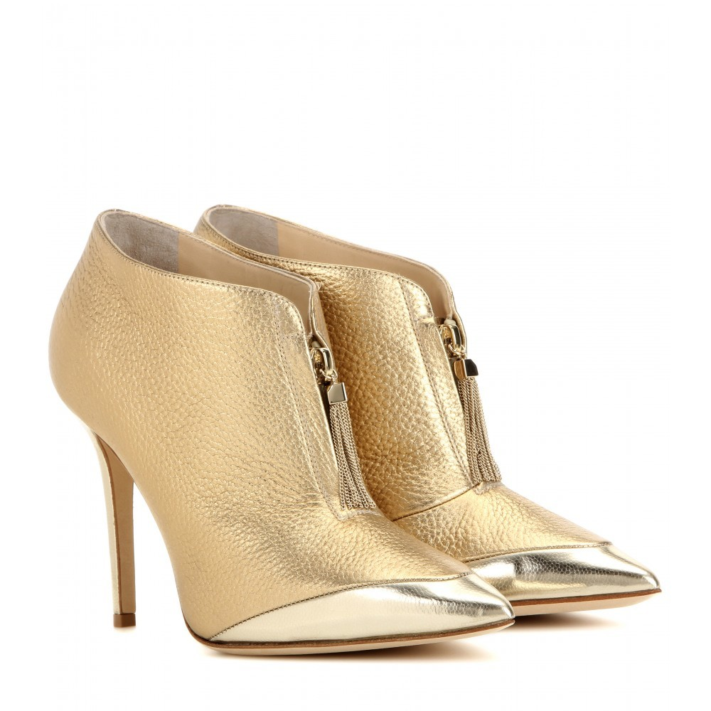 Tessa 100 Metallic Leather Ankle Boots - predominant colour: gold; material: leather; heel height: high; heel: stiletto; toe: pointed toe; boot length: ankle boot; style: standard; finish: metallic; pattern: plain; occasions: creative work; season: a/w 2015; wardrobe: highlight