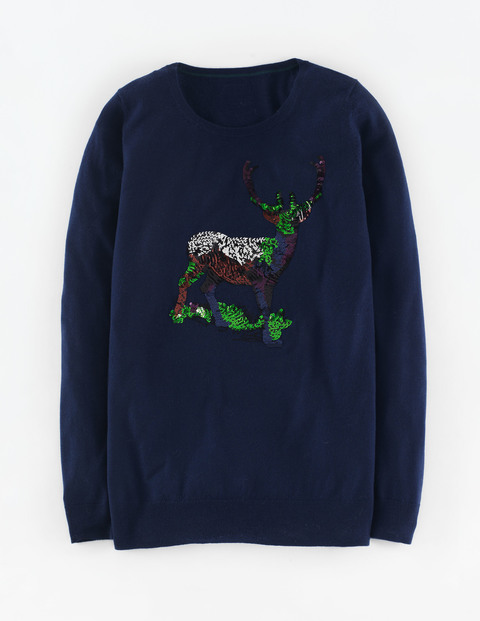 Embellished Xmas Jumper Navy Sequin Stag Women, Navy Sequin Stag - neckline: round neck; pattern: plain; length: below the bottom; style: standard; predominant colour: navy; secondary colour: emerald green; fibres: wool - 100%; occasions: occasion; fit: standard fit; sleeve length: long sleeve; sleeve style: standard; texture group: knits/crochet; pattern type: knitted - fine stitch; embellishment: sequins; trends: christmas jumpers; multicoloured: multicoloured; season: a/w 2015; wardrobe: event