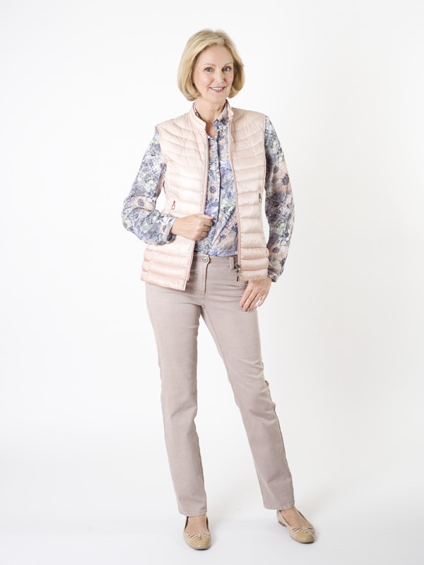 Gerry Weber Quilted Gilet - pattern: plain; sleeve style: sleeveless; style: gilet; collar: round collar/collarless; predominant colour: blush; occasions: casual; length: standard; fit: straight cut (boxy); fibres: polyester/polyamide - 100%; sleeve length: sleeveless; collar break: low/open; pattern type: fabric; texture group: other - bulky/heavy; season: a/w 2015; wardrobe: highlight