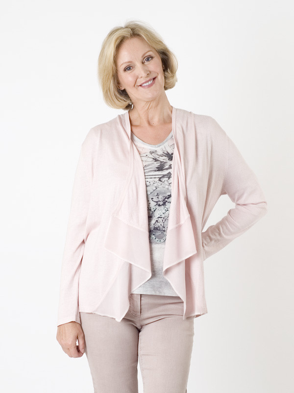 Gerry Weber Pink Waterfall Cardigan - pattern: plain; neckline: waterfall neck; style: open front; predominant colour: blush; occasions: casual, work, creative work; length: standard; fit: loose; sleeve length: long sleeve; sleeve style: standard; texture group: knits/crochet; pattern type: knitted - fine stitch; season: a/w 2015; wardrobe: basic