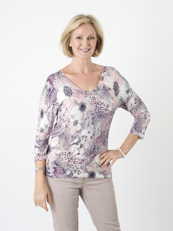 Gerry Weber Multi Print Fine Knit Jumper - neckline: v-neck; predominant colour: lilac; occasions: casual, creative work; length: standard; style: top; fibres: viscose/rayon - stretch; fit: body skimming; sleeve length: 3/4 length; sleeve style: standard; pattern type: fabric; pattern: patterned/print; texture group: jersey - stretchy/drapey; pattern size: big & busy (top); multicoloured: multicoloured; season: a/w 2015