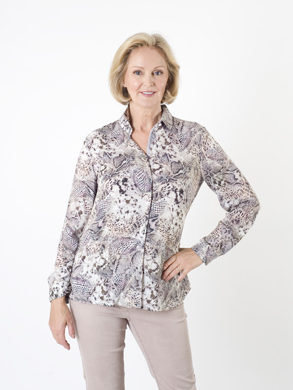 Gerry Weber Animal Multi Print Blouse - neckline: shirt collar/peter pan/zip with opening; style: blouse; predominant colour: light grey; occasions: casual, creative work; length: standard; fibres: viscose/rayon - 100%; fit: body skimming; sleeve length: long sleeve; sleeve style: standard; pattern type: fabric; pattern: patterned/print; texture group: other - light to midweight; pattern size: big & busy (top); multicoloured: multicoloured; season: a/w 2015