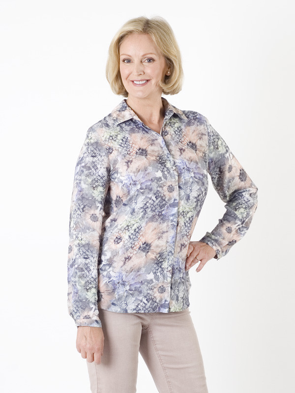 Gerry Weber Floral Multi Print Blouse - neckline: shirt collar/peter pan/zip with opening; style: blouse; predominant colour: pale blue; occasions: casual, creative work; length: standard; fibres: viscose/rayon - stretch; fit: body skimming; sleeve length: long sleeve; sleeve style: standard; pattern type: fabric; pattern: florals; texture group: jersey - stretchy/drapey; pattern size: big & busy (top); multicoloured: multicoloured; season: a/w 2015; wardrobe: highlight