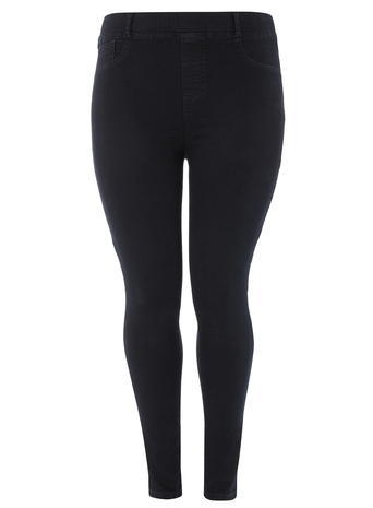 Womens Dp Curve Plus Size Blue And Black Slim Fit Jeggings Blue - length: standard; pattern: plain; style: leggings; waist: mid/regular rise; predominant colour: navy; occasions: casual; fibres: cotton - stretch; texture group: denim; fit: skinny/tight leg; pattern type: fabric; season: a/w 2015; wardrobe: basic