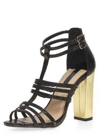 Womens Black 'saskia' Strappy Sandals Black - predominant colour: black; occasions: evening, occasion; material: faux leather; heel height: high; ankle detail: ankle strap; heel: block; toe: open toe/peeptoe; style: strappy; finish: plain; pattern: plain; season: a/w 2015