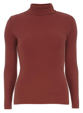 Womens Rib Roll Neck Top Red - pattern: plain; neckline: roll neck; predominant colour: terracotta; occasions: casual; length: standard; style: top; fibres: cotton - 100%; fit: body skimming; sleeve length: long sleeve; sleeve style: standard; pattern type: fabric; texture group: jersey - stretchy/drapey; season: a/w 2015; wardrobe: highlight