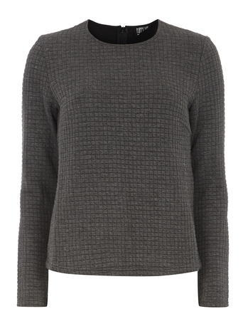 Womens **Poppy Lux Grey Marl Quilted Jersey Top Grey - pattern: plain; predominant colour: mid grey; occasions: casual; length: standard; style: top; fibres: polyester/polyamide - 100%; fit: body skimming; neckline: crew; sleeve length: long sleeve; sleeve style: standard; pattern type: fabric; texture group: jersey - stretchy/drapey; season: a/w 2015